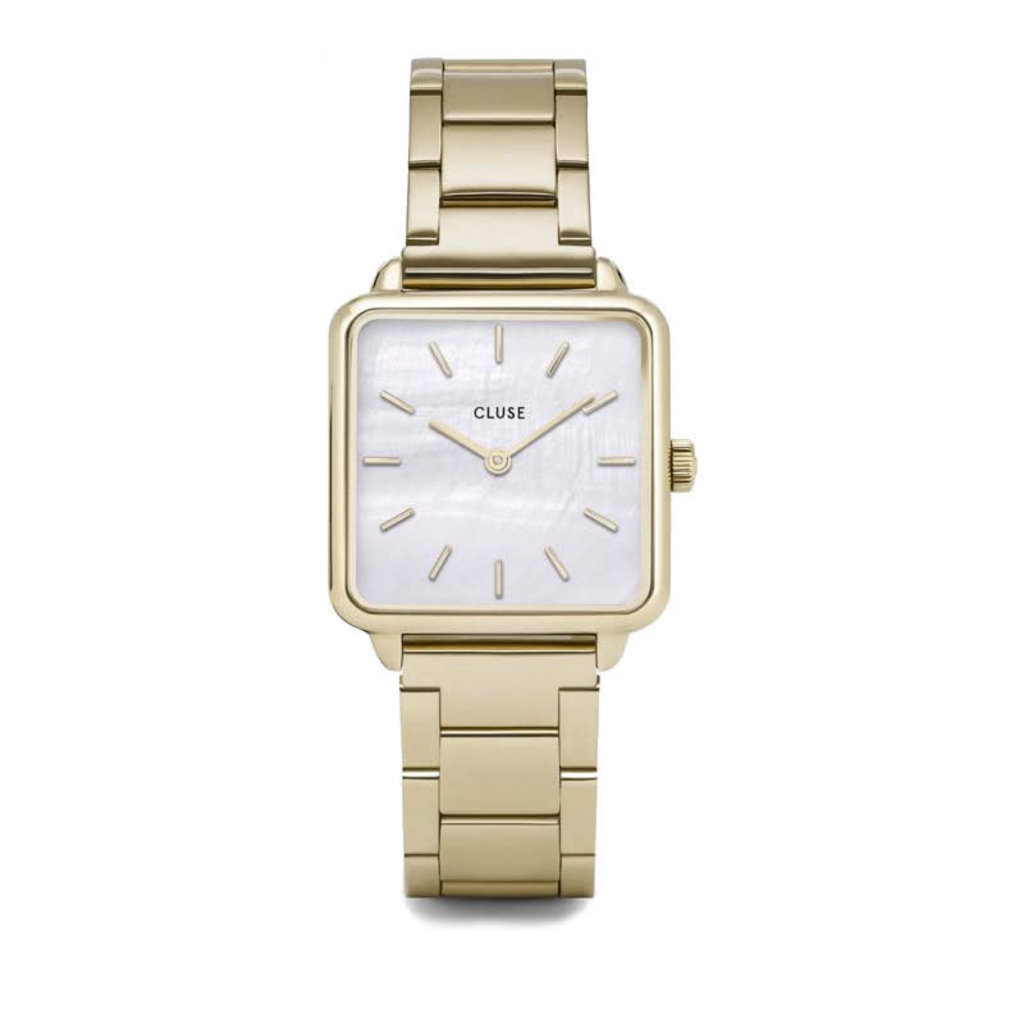 CLUSE CLUSE horloge La Tétragone Three Link Gold/White Pearl
