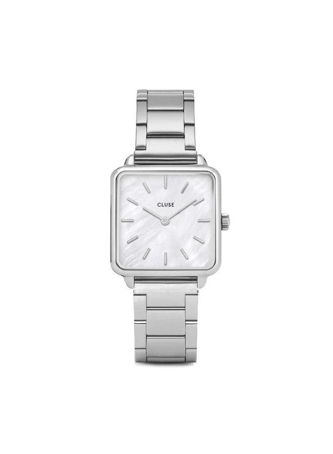 CLUSE horloge La Tétragone Single Link Silver/White
