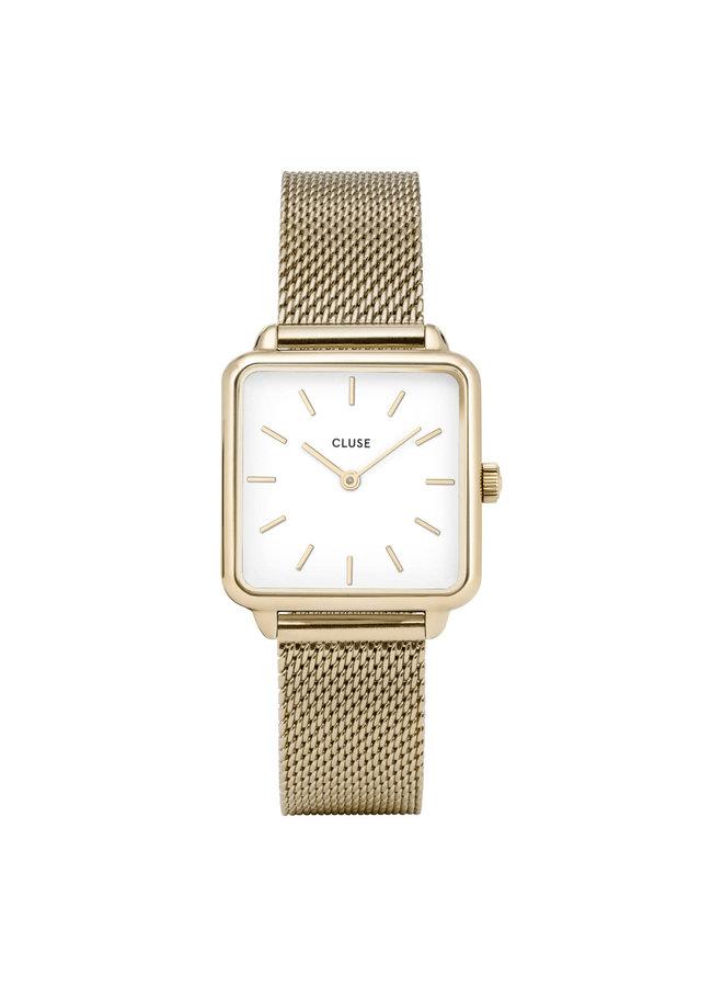 CLUSE horloge La Tétragone Mesh Gold/White