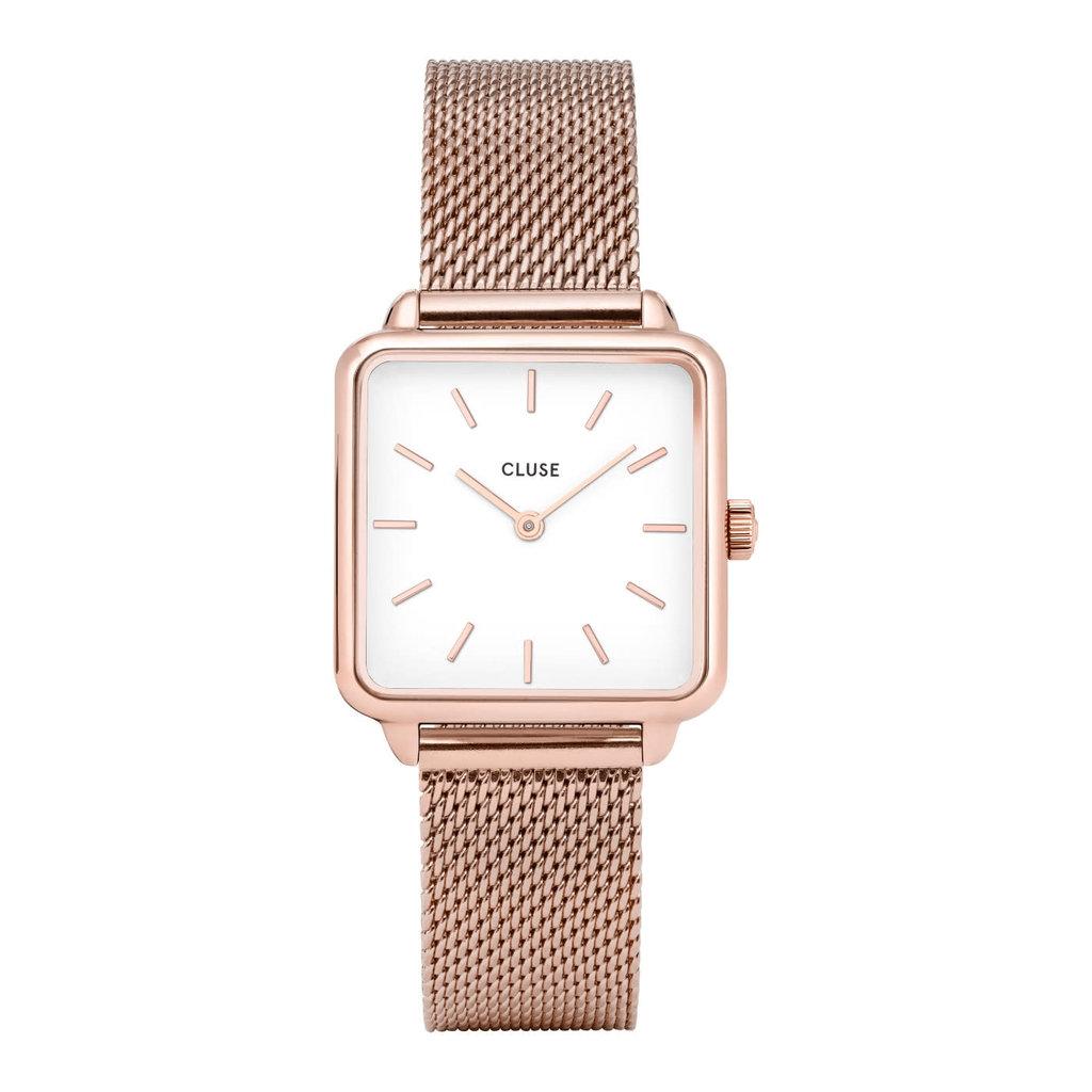 CLUSE CLUSE horloge La Tétragone Mesh Rosé Gold/White
