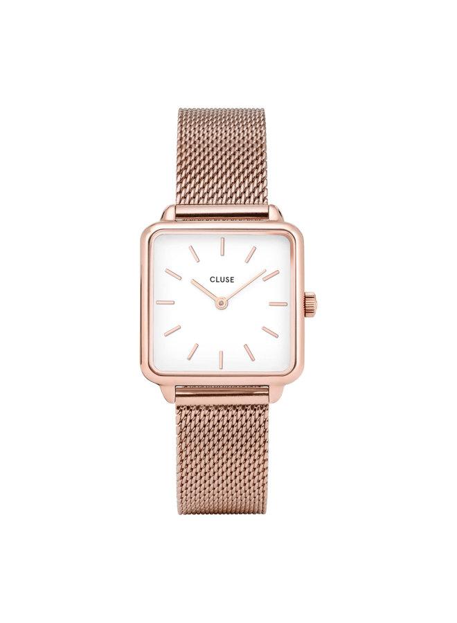 CLUSE horloge La Tétragone Mesh Rosé Gold/White