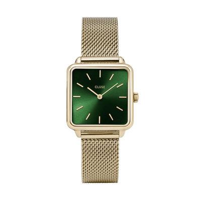 CLUSE CLUSE horloge La Tétragone Mesh Gold/Forest Green