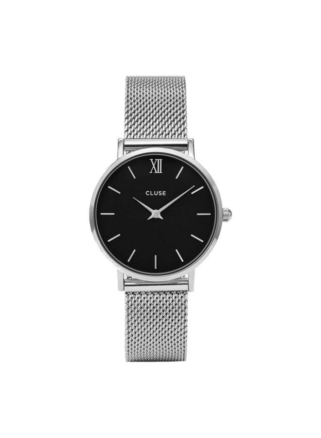 CLUSE horloge Minuit Mesh Silver/Black