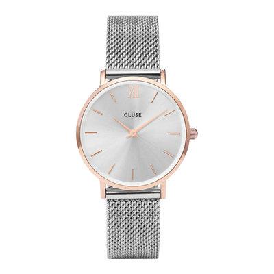 CLUSE CLUSE horloge Minuit Mesh Silver Rosé Gold/Silver
