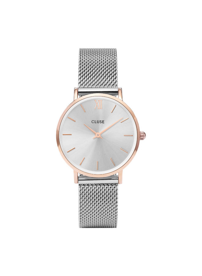 CLUSE horloge Minuit Mesh Silver/Rosé Gold