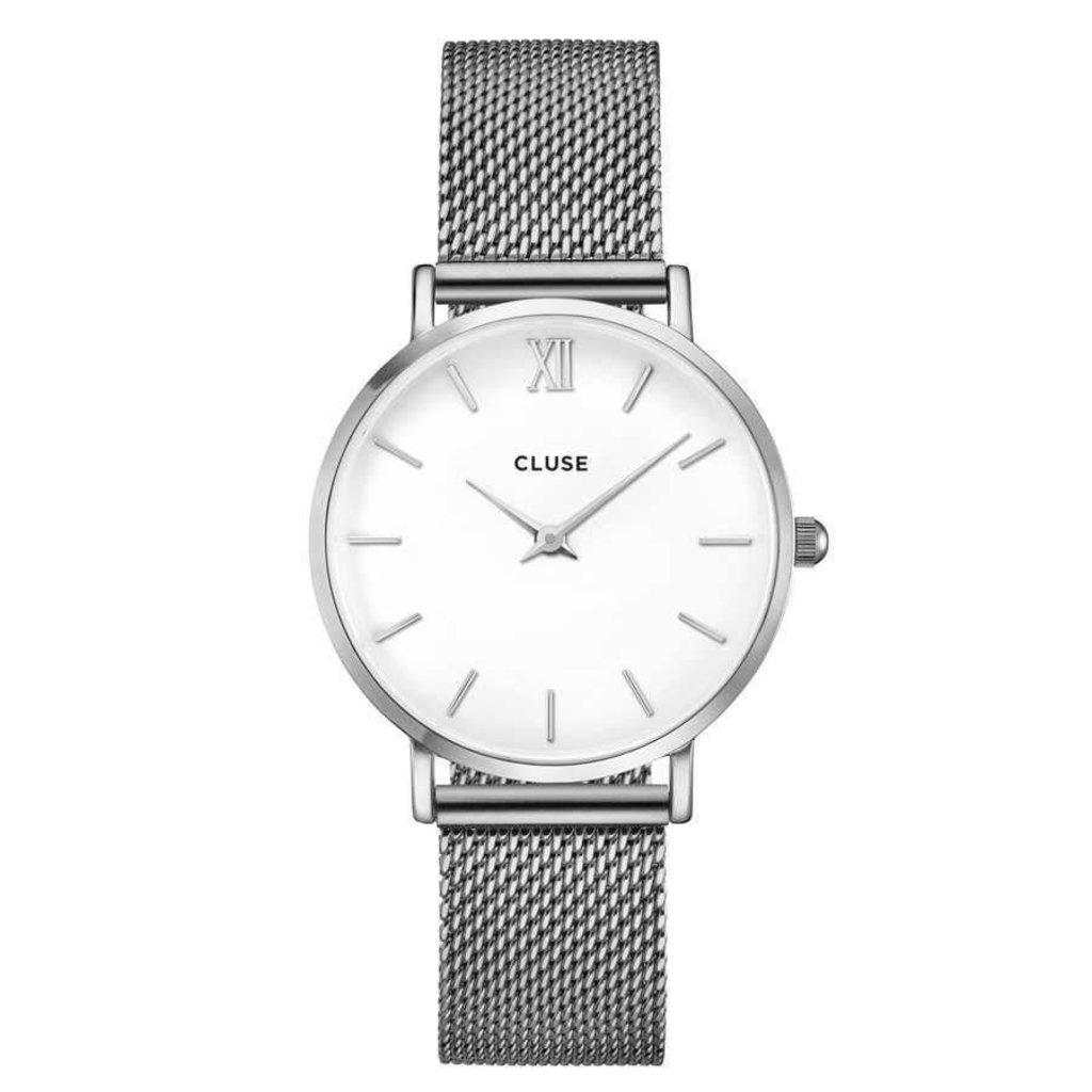 CLUSE CLUSE horloge Minuit Mesh Silver/White