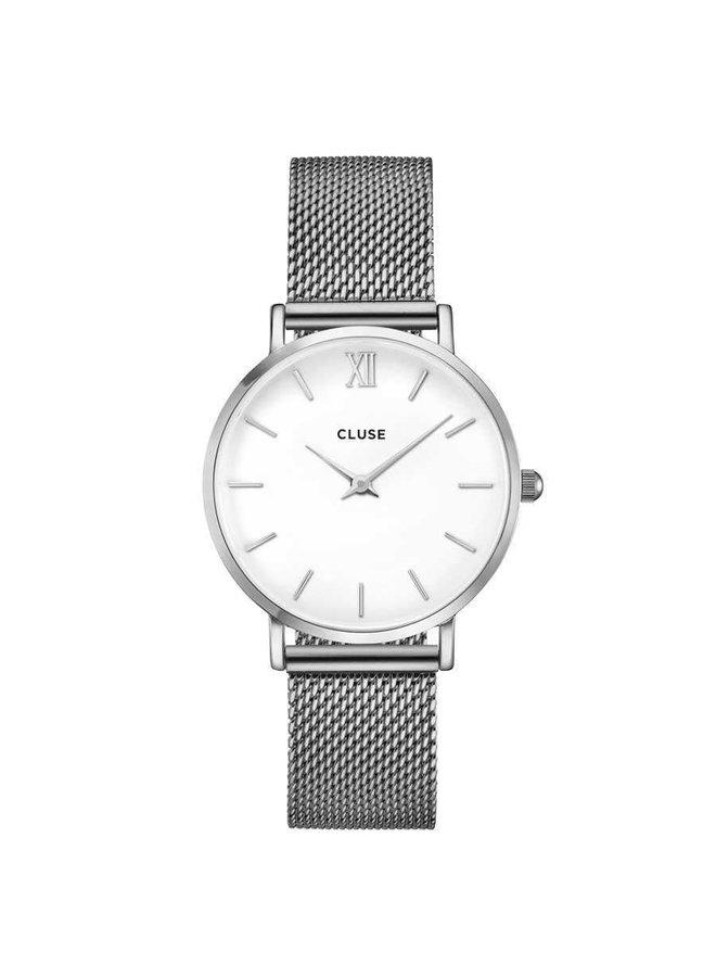 CLUSE horloge Minuit Mesh Silver/White