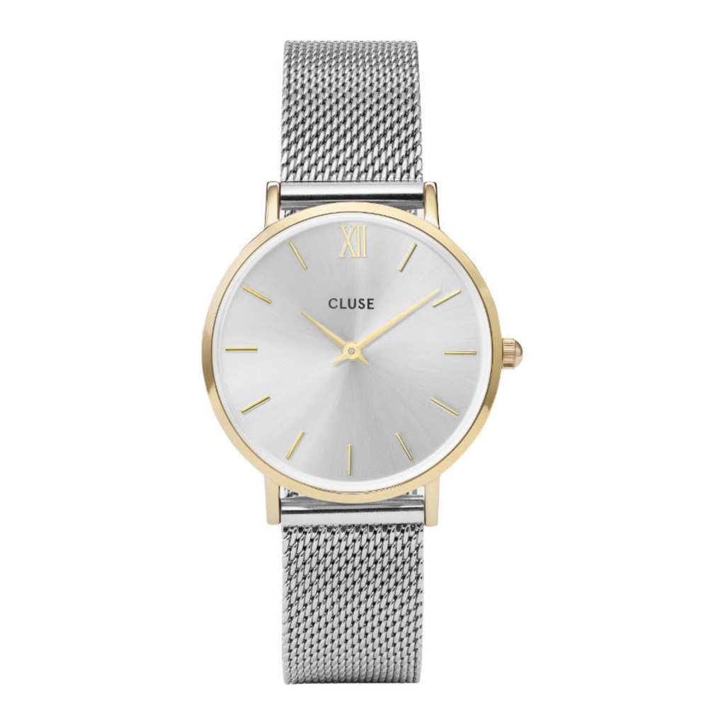 CLUSE CLUSE horloge Minuit Mesh Silver Gold/Silver