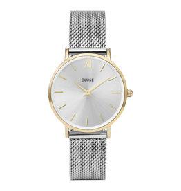 CLUSE CLUSE horloge Minuit Mesh Silver Gold/Silver