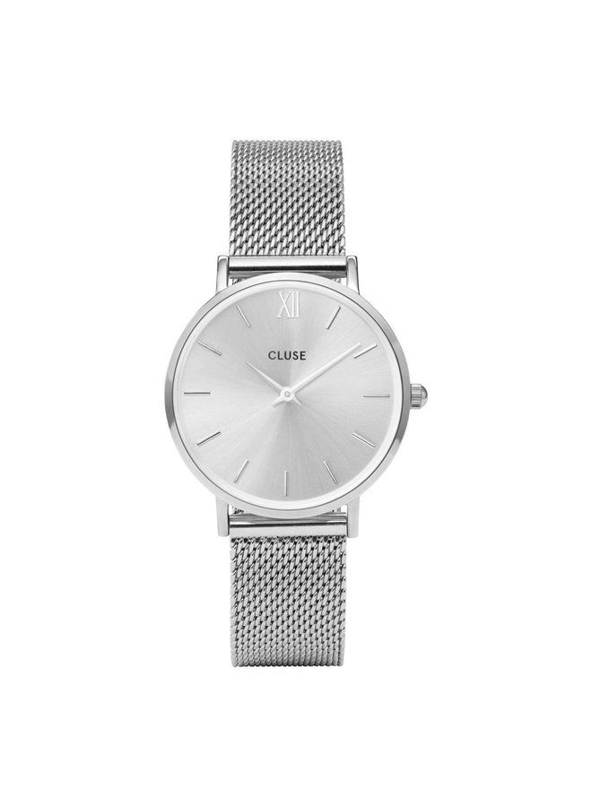 CLUSE horloge Minuit Mesh Full Silver