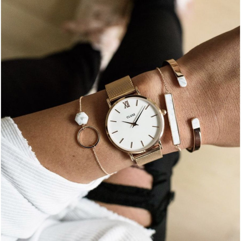 CLUSE CLUSE horloge Minuit Mesh Rosé Gold/White