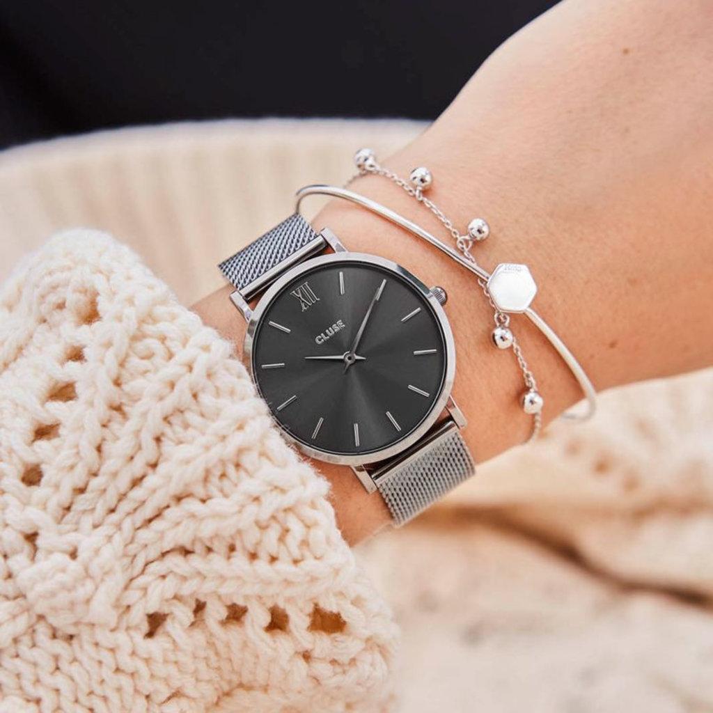 CLUSE CLUSE horloge Minuit Mesh Full Dark Grey