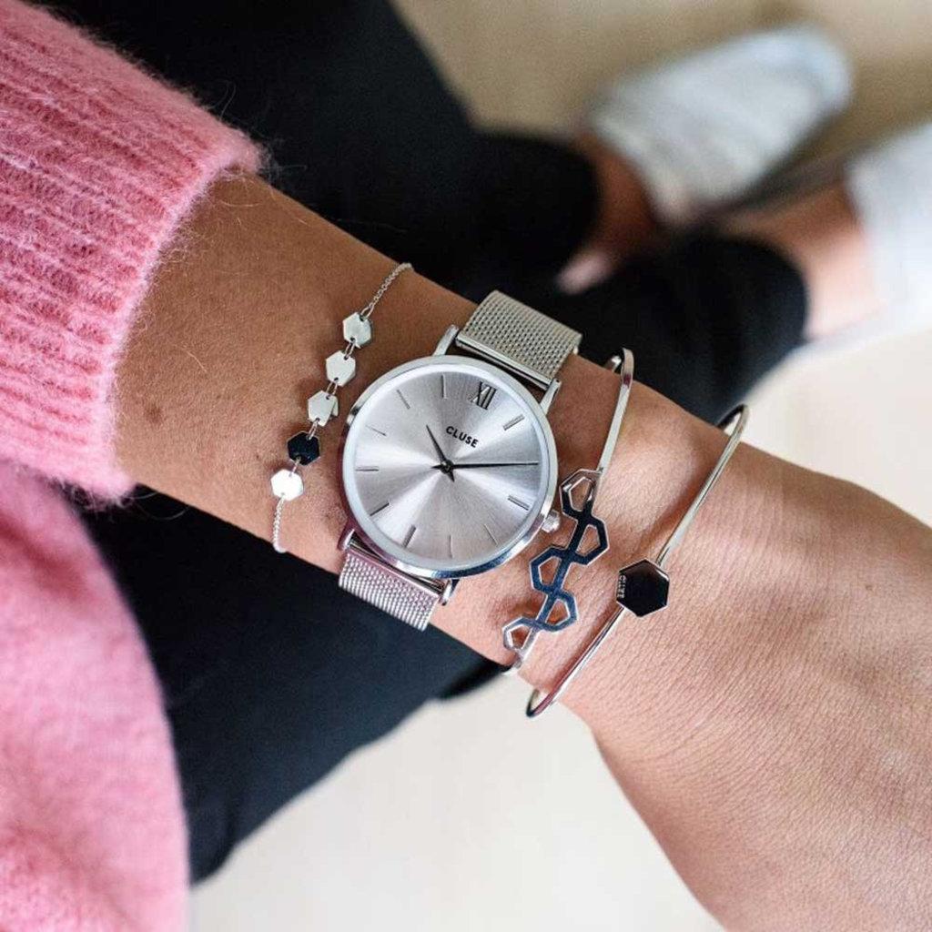CLUSE CLUSE horloge Minuit Mesh Full Silver