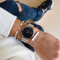 CLUSE CLUSE horloge Minuit Mesh Silver/Black