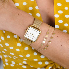CLUSE CLUSE horloge La Tétragone Mesh Gold/White