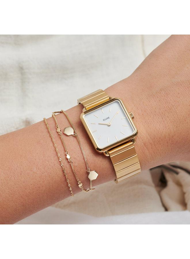 CLUSE horloge La Tétragone Single Link Gold/White