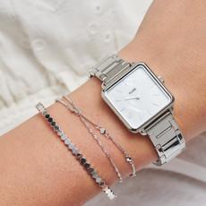 CLUSE CLUSE horloge La Tétragone Three Link Silver/White Pearl