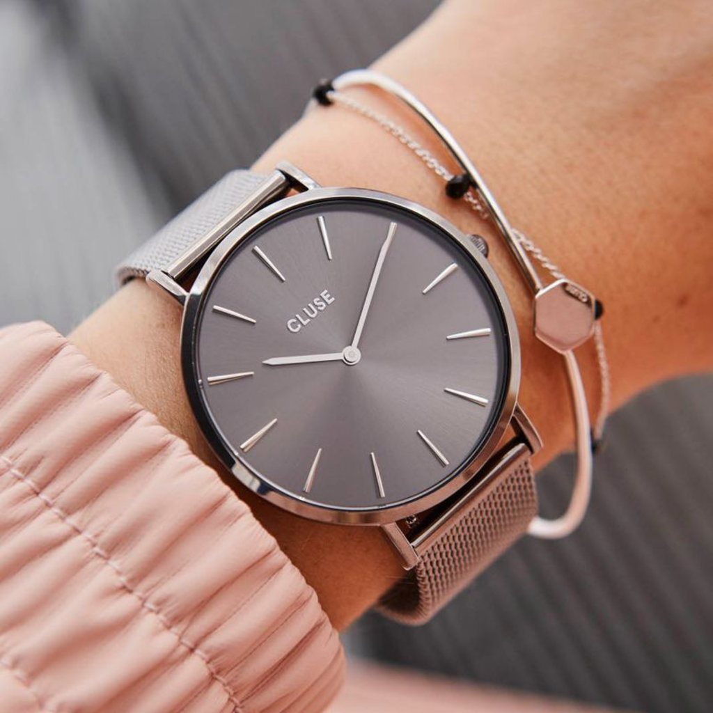 CLUSE CLUSE horloge La Bohème Mesh Full Dark Grey