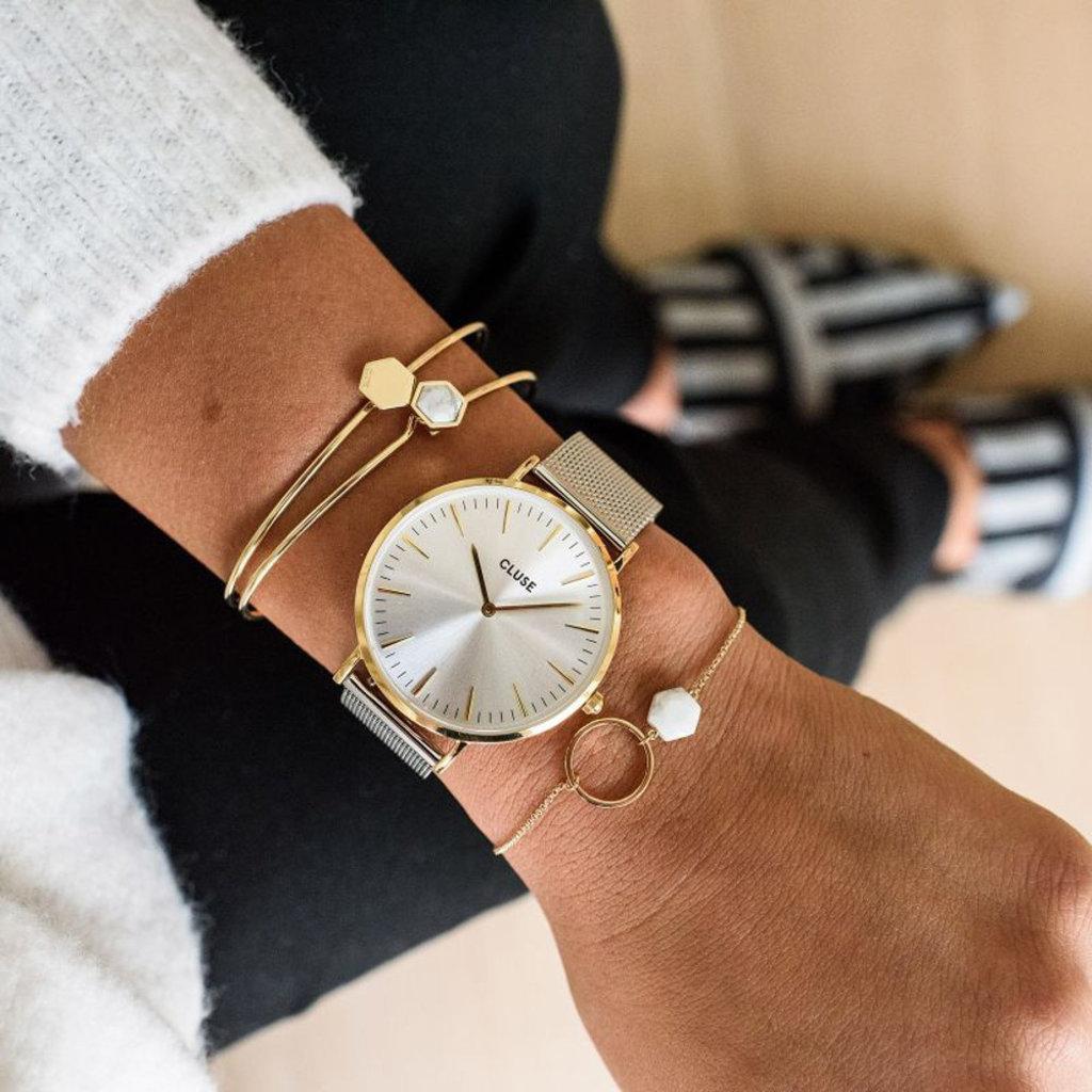 CLUSE CLUSE horloge La Bohème Mesh Silver Gold/Silver