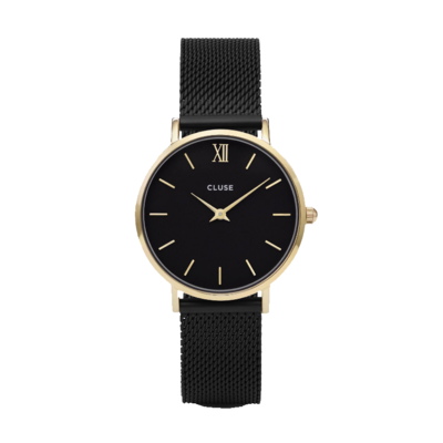 CLUSE CLUSE horloge Minuit Mesh Black Gold/Black