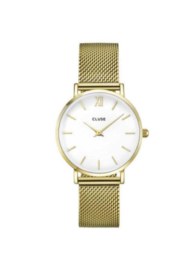 CLUSE horloge Minuit Mesh Gold/White