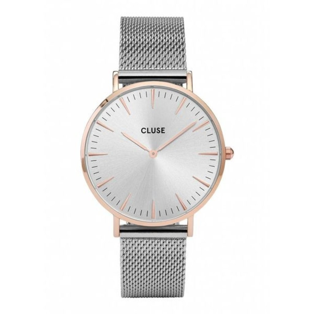 CLUSE CLUSE horloge Boho Chic Mesh Silver Rosé/Silver
