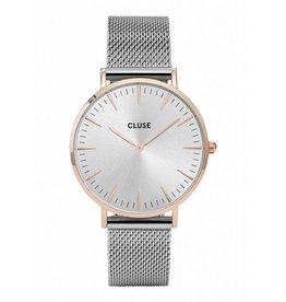 CLUSE CLUSE horloge La Bohème Mesh Silver Rosé/Silver