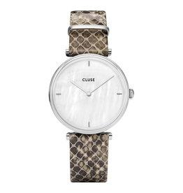 CLUSE CLUSE horloge Triomphe Python Silver/White Pearl