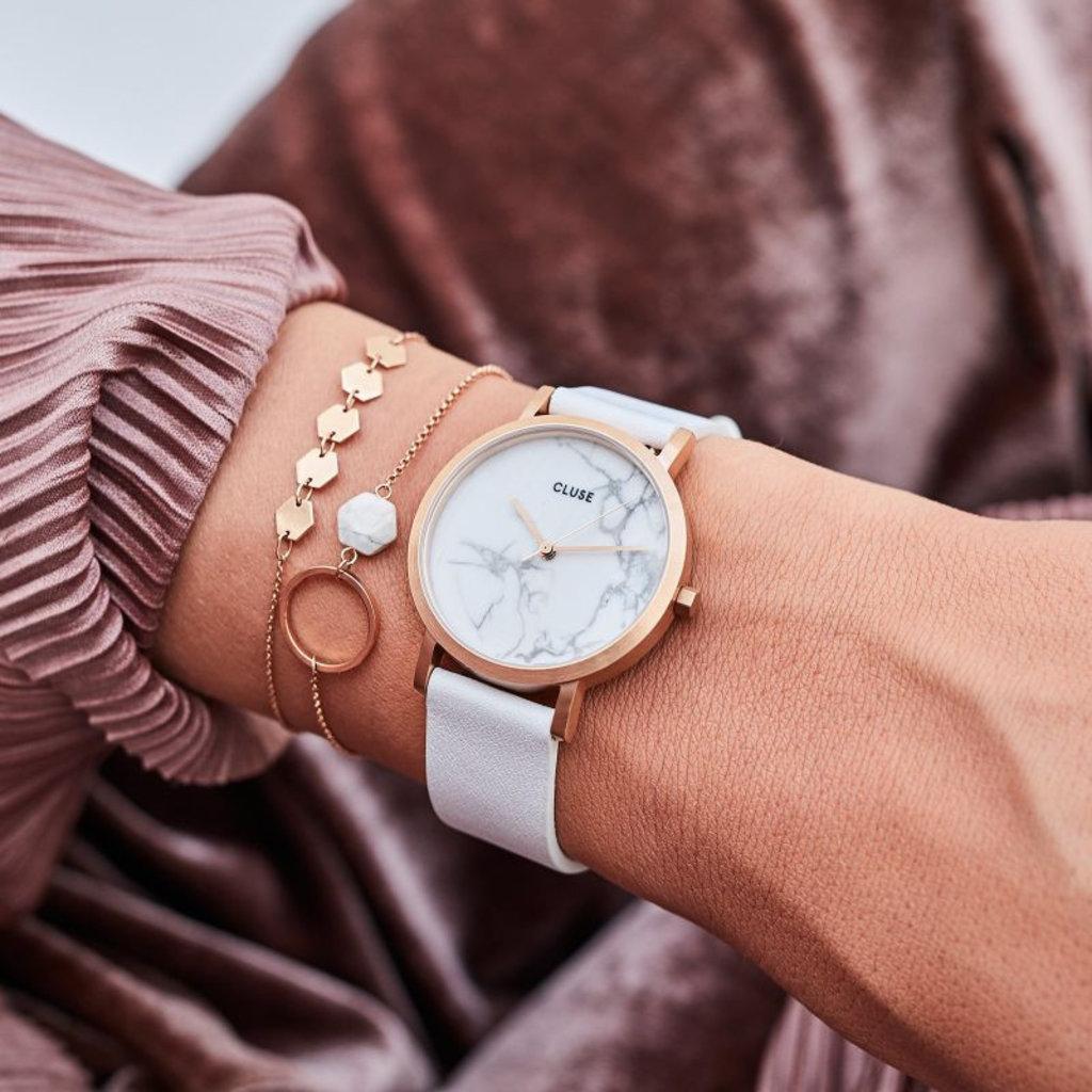 CLUSE CLUSE horloge La Roche White/Rosé Gold/Marble