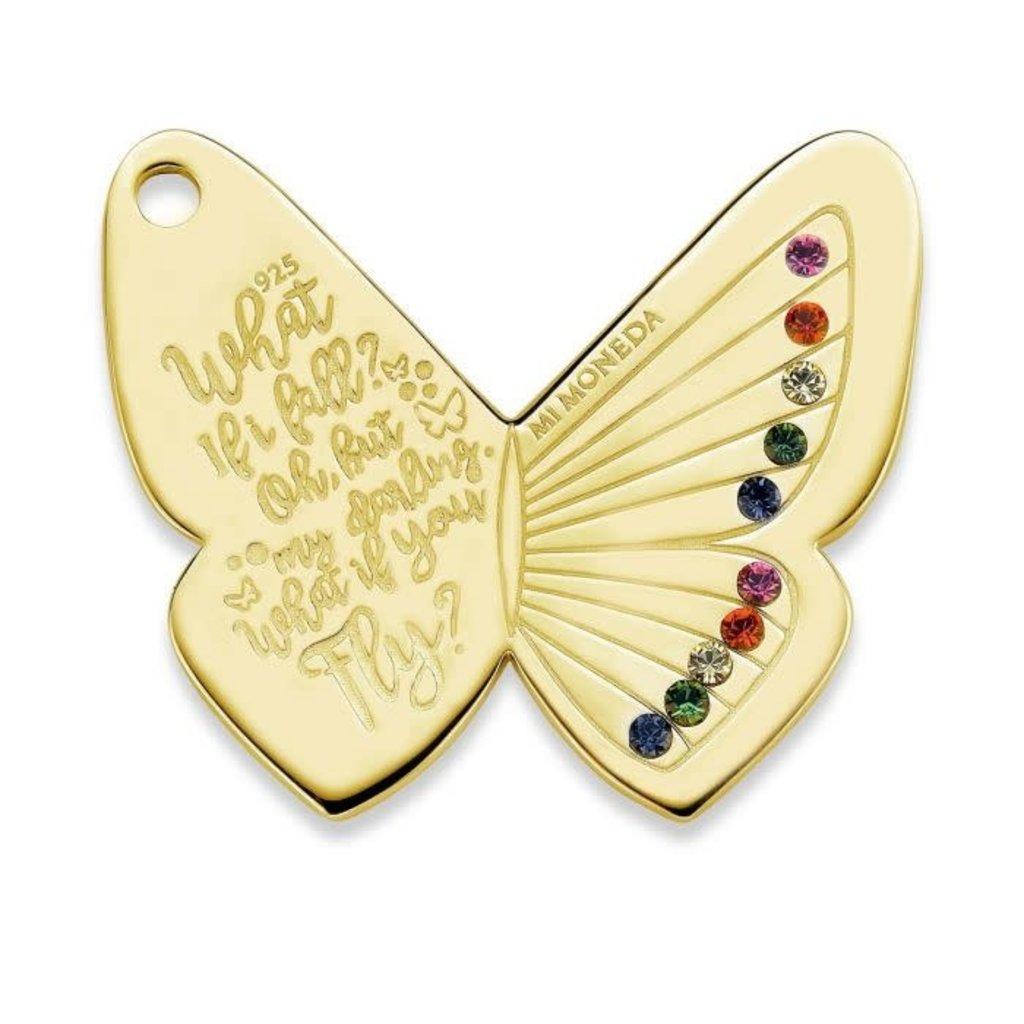 Mi Moneda Mi Moneda Monogram tag Butterfly 20 mm Gold Plated