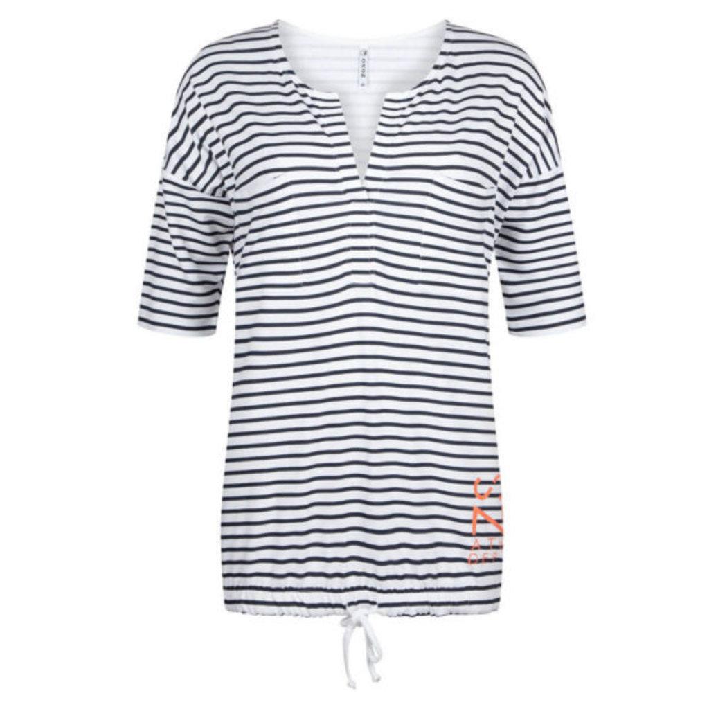 Zoso Zoso blouse 192 Aivy  Striped 0078 Navy Salmon