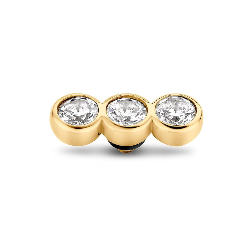 Melano Melano Twisted meddy Tripple CZ Stone Gold Plated