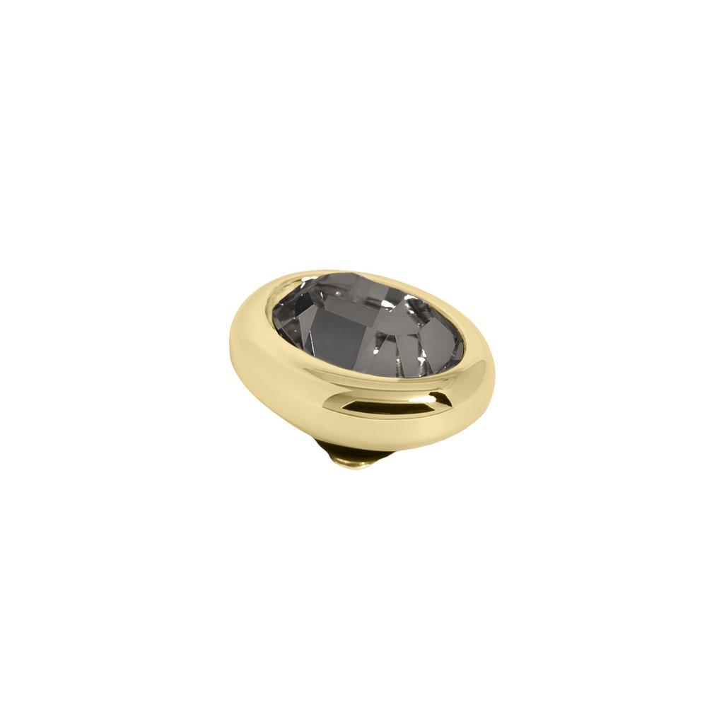 Melano Melano Twisted meddy Oval Gold Plated Black Diamond