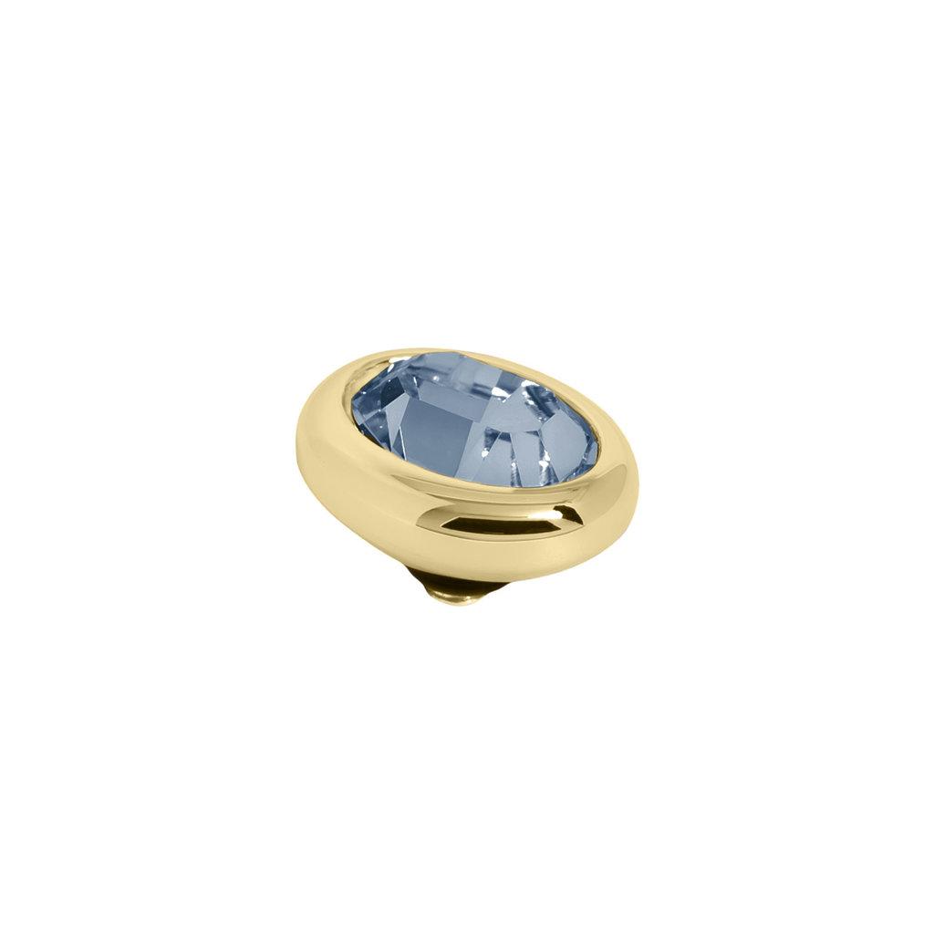 Melano Melano Twisted meddy Oval Gold Plated Denim Blue