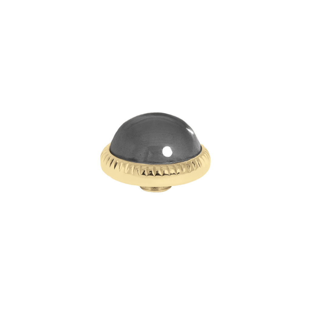 Melano Melano Vivid meddy CZ 12 mm Gold Plated Black