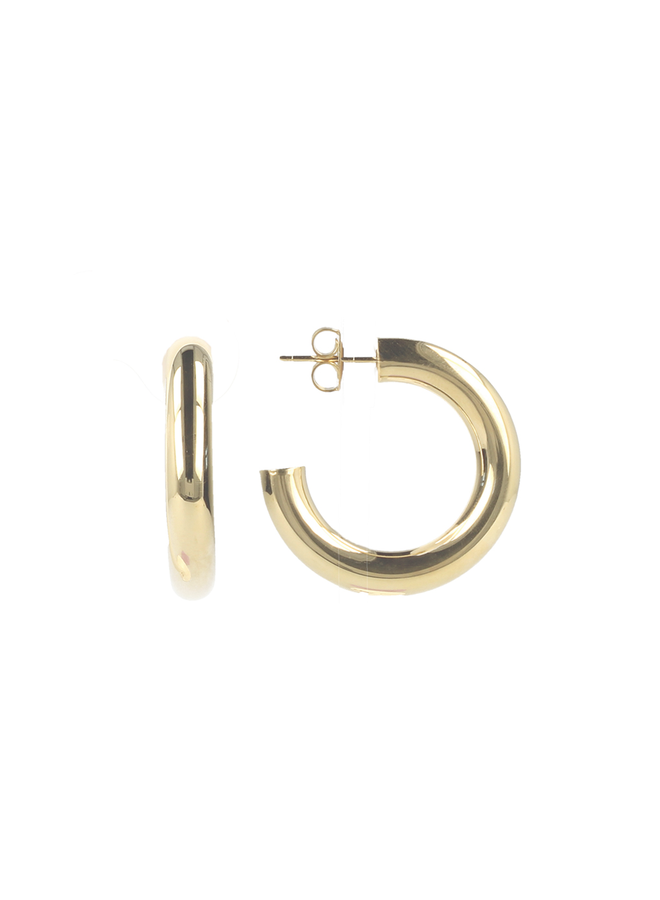 LOTT. Classic Collection oorbellen Tube Creool Round S Gold Plated