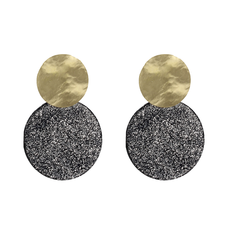 LOTT. Gioielli LOTT. Exclusive Collection oorbellen Closed Circle Glitter Dark Grey Gold