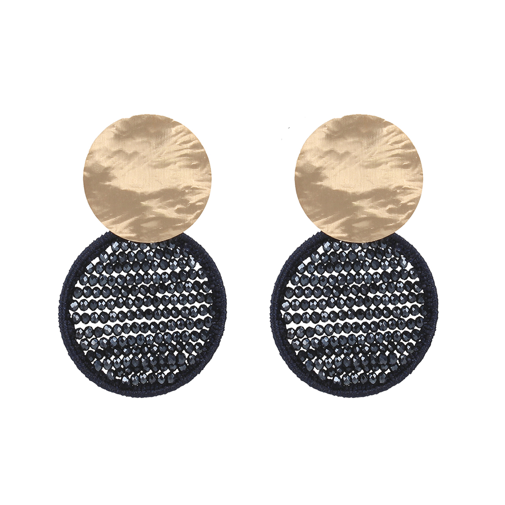 LOTT. Gioielli LOTT. Exclusive Collection oorbellen Silk Circle Abacus Dark Blue Rosé Gold