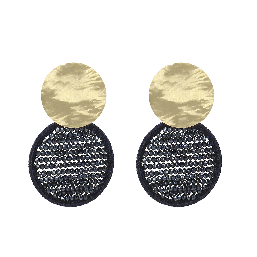 LOTT. Gioielli LOTT. Exclusive Collection oorbellen Silk Circle Abacus Dark Blue Gold