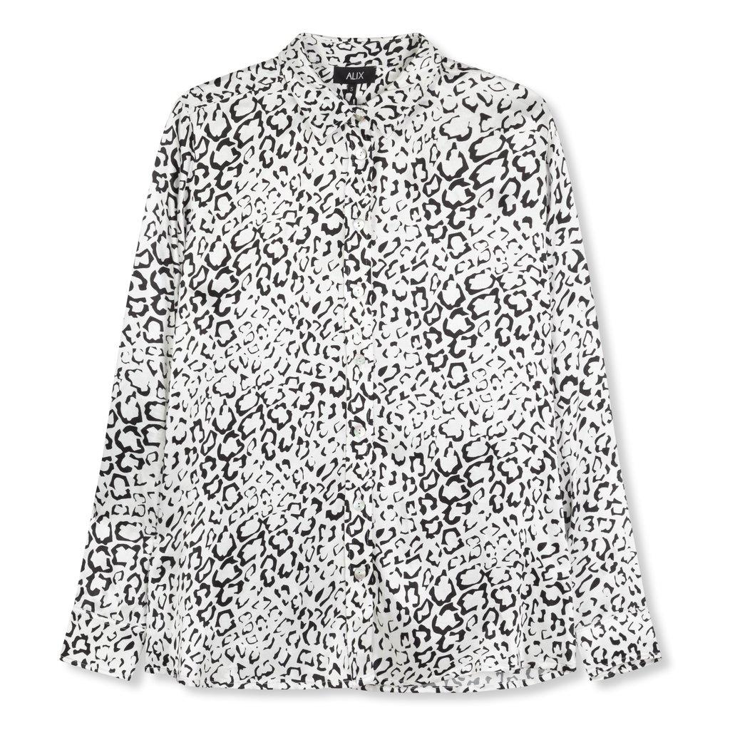 ALIX The Label ALIX blouse Graphic Animal Satin Soft White