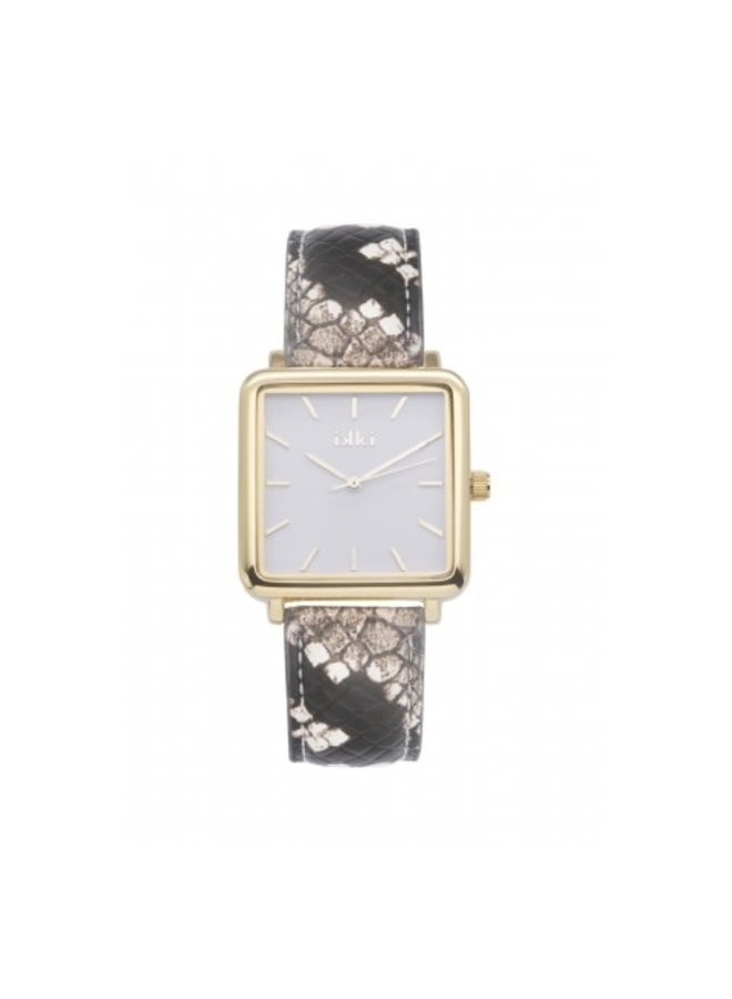 IKKI horloge Tenzin TE14 Brown Python/Gold/White
