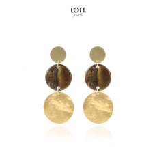 LOTT. Gioielli LOTT. oorbellen Resin Element Small Brown Gold
