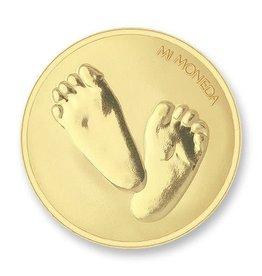 Mi Moneda Mi Moneda munt Baby Feet & te Quiero Gold Plated