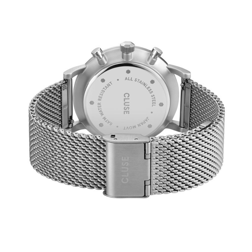 CLUSE CLUSE horloge Aravis Chrono Mesh Silver, Dark Blue