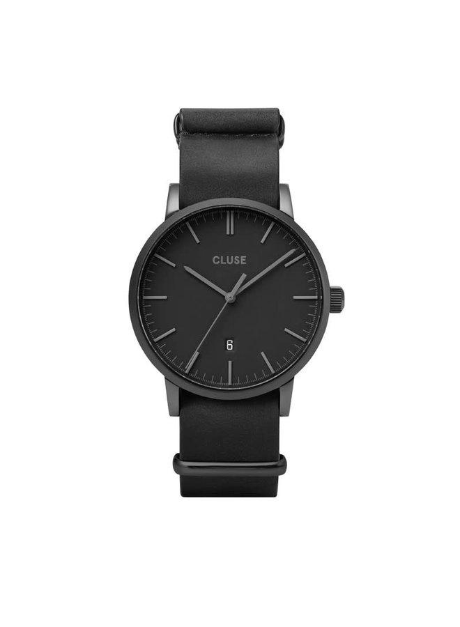 CLUSE horloge Aravis Nato Leather Black