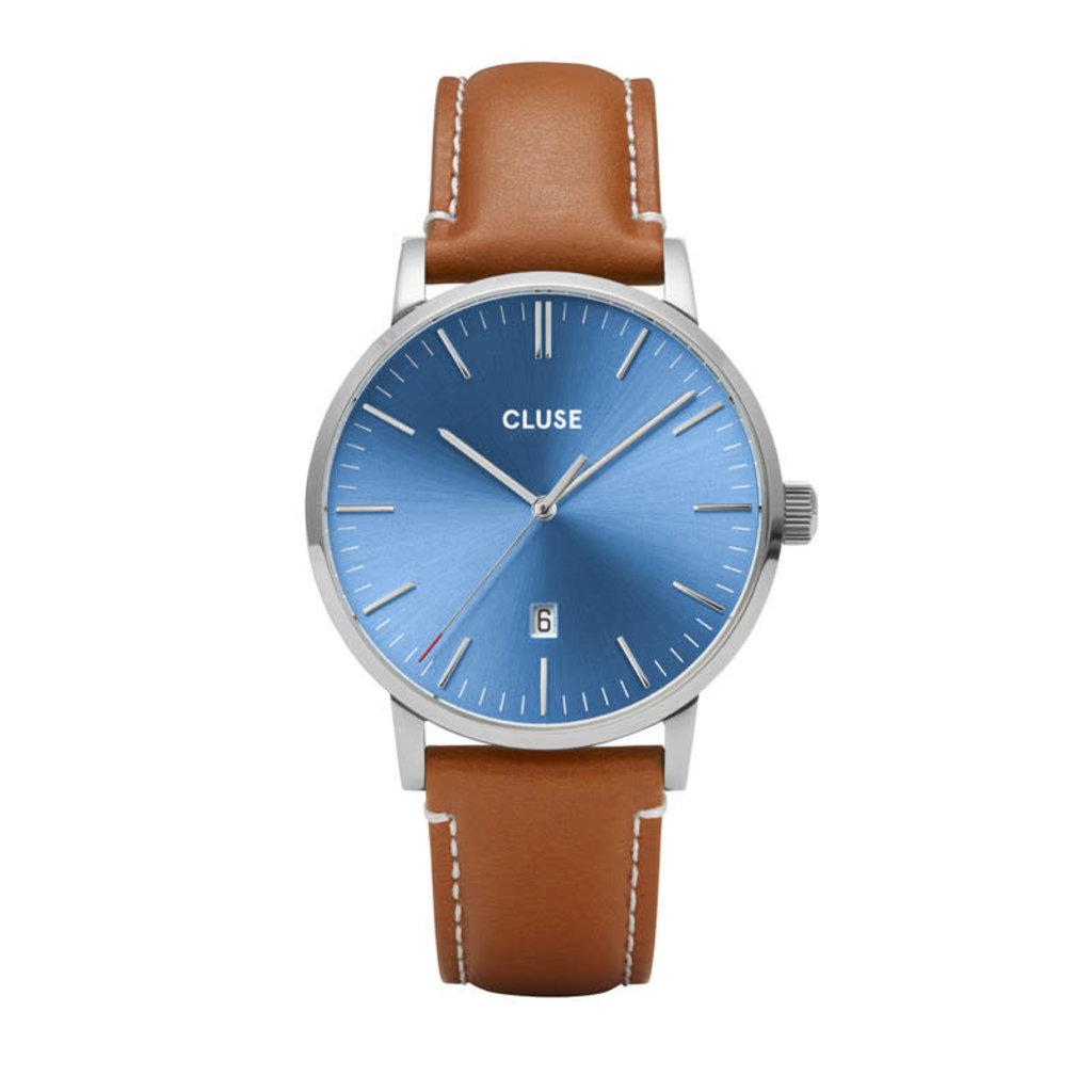 CLUSE CLUSE horloge Aravis Leather Silver, Blue/Light Brown