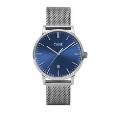 CLUSE CLUSE horloge Aravis Mesh Silver, Dark Blue/Silver