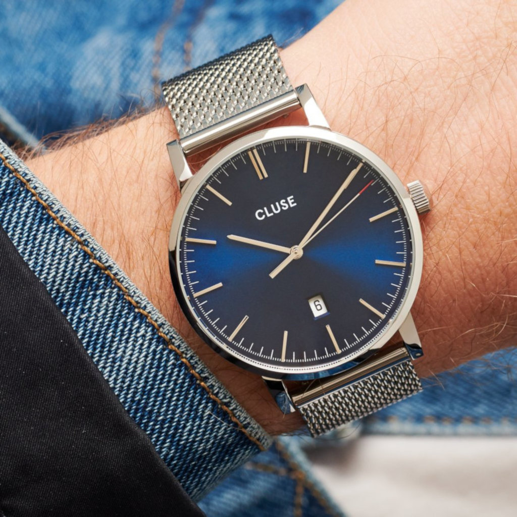 CLUSE CLUSE horloge Aravis Mesh Silver, Dark Blue/Silver CW0101501004