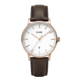 CLUSE CLUSE horloge Aravis Leather Rosé Gold White/Dark Brown