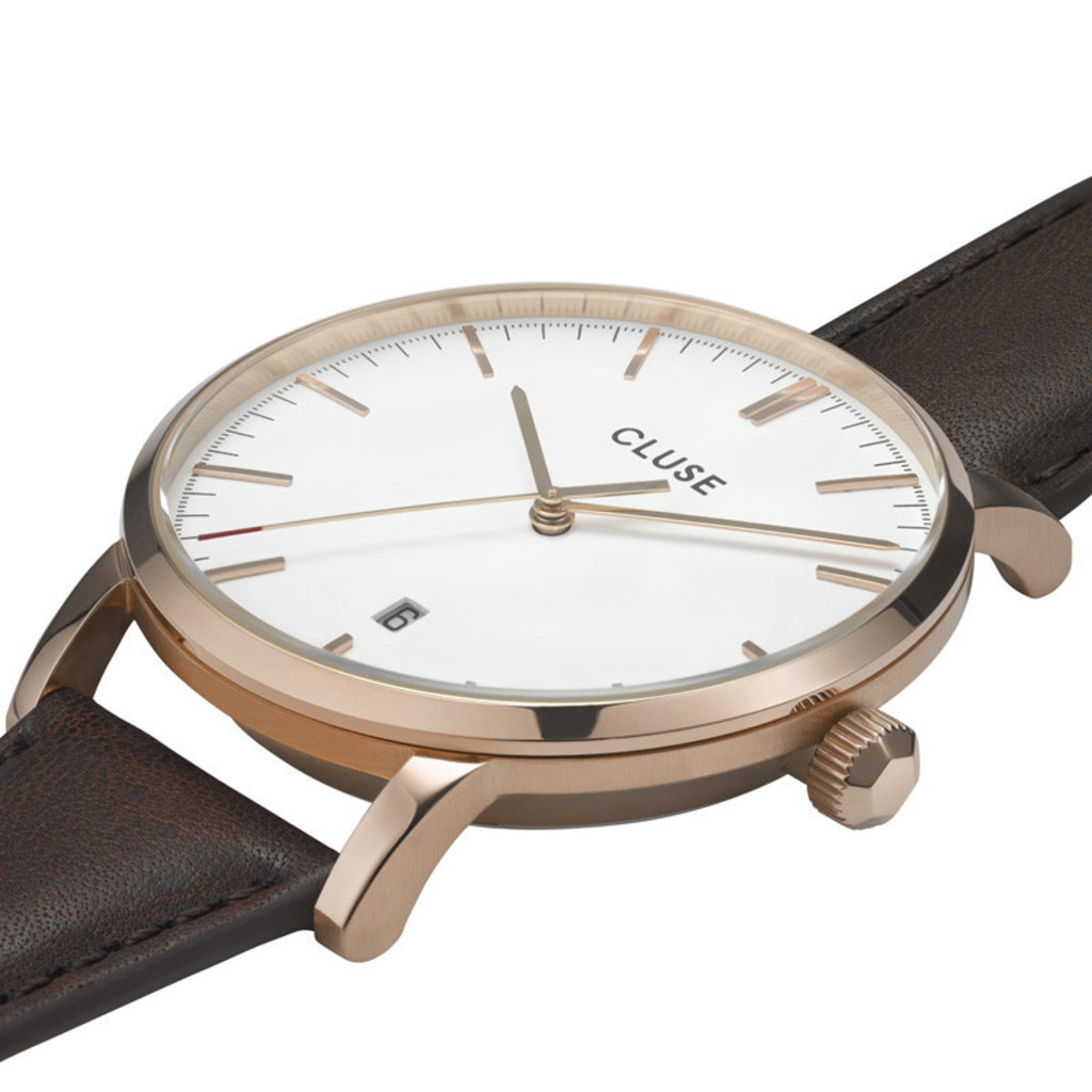 CLUSE CLUSE horloge Aravis Leather Rosé Gold White/Dark Brown CW0101501002